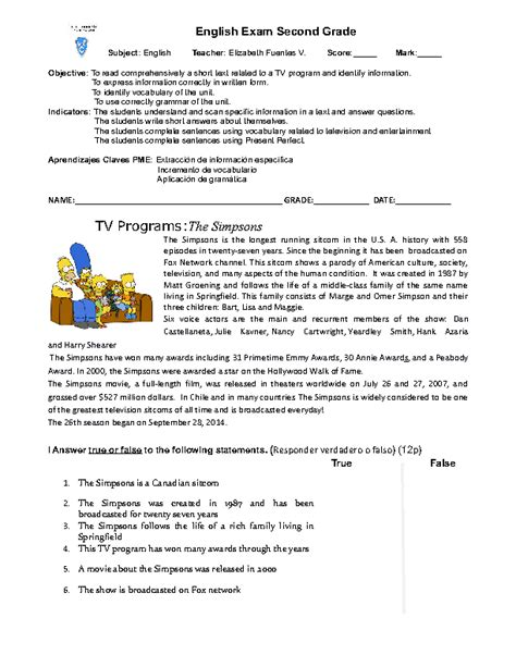 Class 2nd english syllabus as prescribed by ncert for cbse affiliated schools, cbse class 2nd english worksheets, and other study material for class 2nd students. English Exam 2nd Grade
