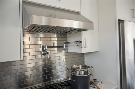 stainless steel backsplash tile pictures of the hgtv smart home 2015 kitchen hgtv smart