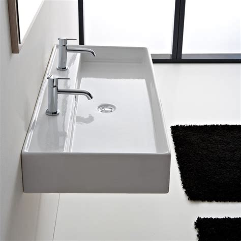 double faucet bathroom sink beautiful ceramic 47 inch double sink by scarabeo