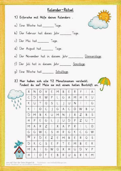 kalender raetsel zum jahr bildung unterricht schule