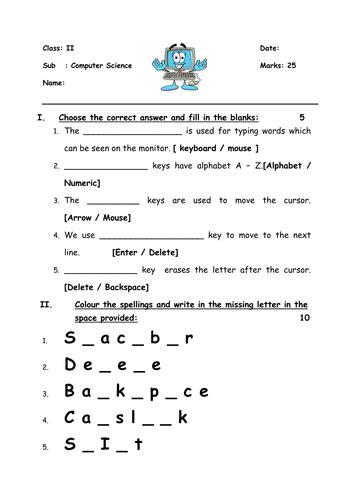 keyboard worksheet  grade  teaching resources