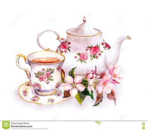 Tea Cup And Teapot With Flowers Vintage Watercolor