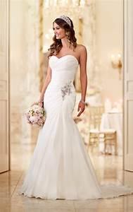 Sparkly Organza Strapless Wedding Gown Stella York