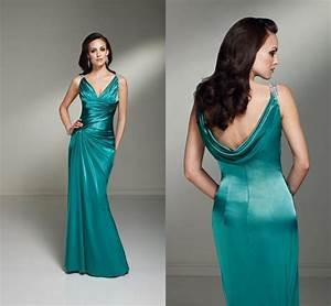 new arrival db127 full length beaded green satin cowl back With womens wedding guest dresses