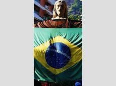 Statue Of Christ The Redeemer Brazil Flag Stock Photo