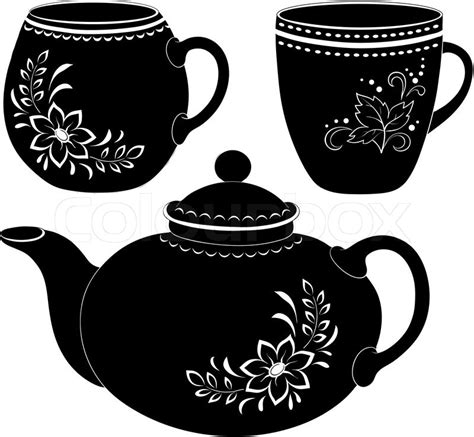 Teapot and cups, silhouettes   Stock Vector   Colourbox