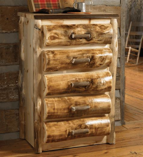 Aspen Log Furniture: Elk Antler 5 Drawer Log Chest Black