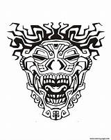 Aztec Coloring Mayan Mask Pages Inca Adult Incas Mayans Adults Drawing Aztecs Printable Inspiration Drawings Inspired Template Totem Pyramid Tattoo sketch template