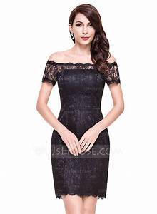 sheath column off the shoulder short mini lace cocktail With robe dentelle cocktail