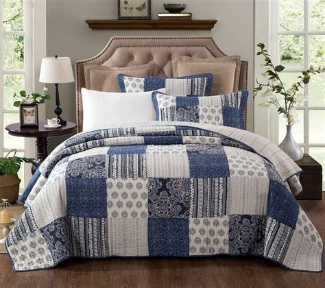 Blue Quilted Bedspread by Dada Bedding Bohemian Denim Blue Elegance Patchwork Cotton