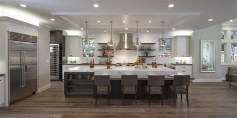 Fabulous Can Lights And Extra Large Island For Big Kitchen