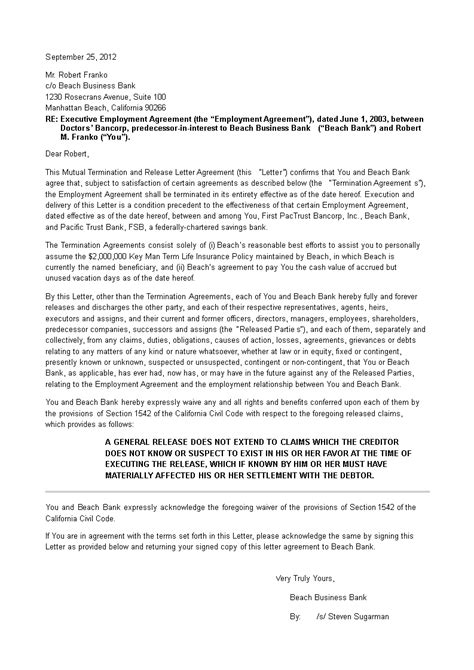 mutual agreement termination letter templates