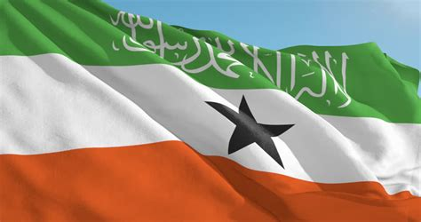 Somaliland Flag Waving In Slow Motion Against Blue Sky