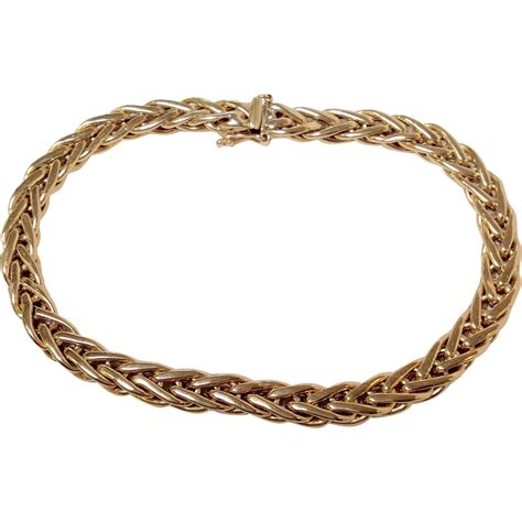 gold bracelet 14k gold wheat link bracelet 14k from antiquesofriveroaks on