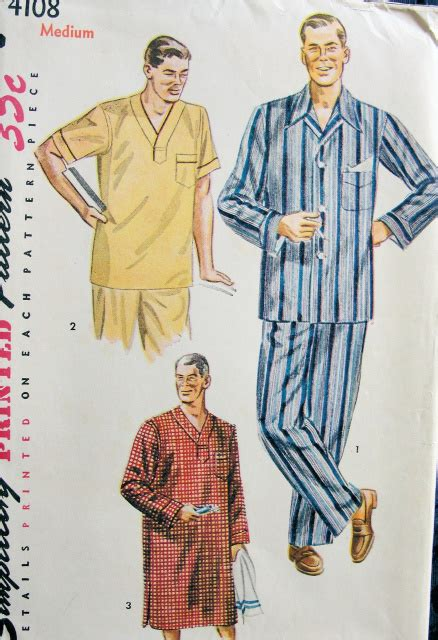 dapper mens pajamas nightshirt pattern simplicity