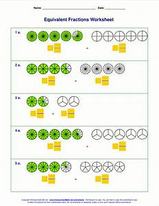 Free equivalent fractions worksheets with visual models