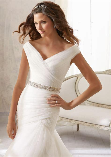 asymmetrically draped soft net wedding dress style