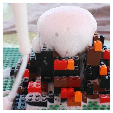 build  lego volcano  bins   hands