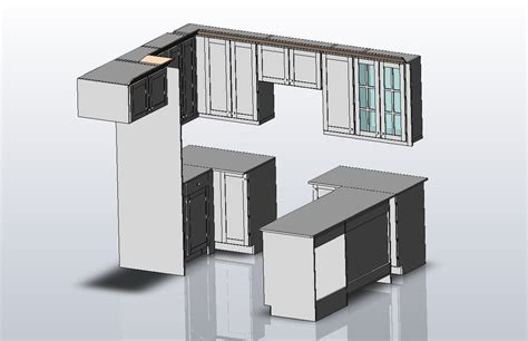 kitchen cabinet cad kitchen cabinet sw 2010 3d cad model library grabcad 2386