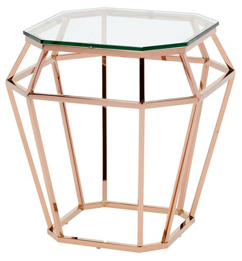 rose gold table l clear glass side table hgsx179 nuevo