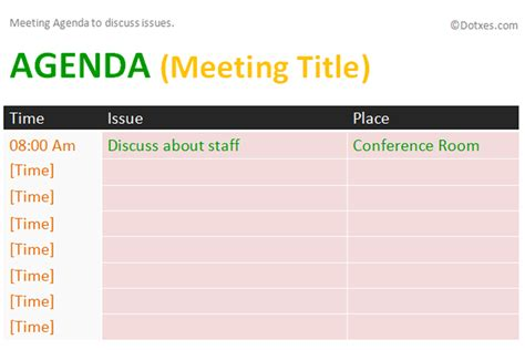 issue meeting agenda template dotxes