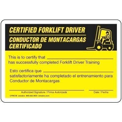 forklift certification cards driver wallet operator card