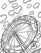 Wheel Ferris Coloring Pages Printable Sheet Wheels Sheets Pdf Colouring Coloringcafe Books Button Prints Standard Below sketch template
