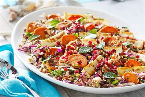 better homes and gardens potato salad recipe quinoa lentil and sweet potato salad with pan fried haloumi better homes and gardens