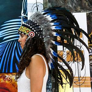 The Original Real Feather Blue Tip and Black Chief Indian