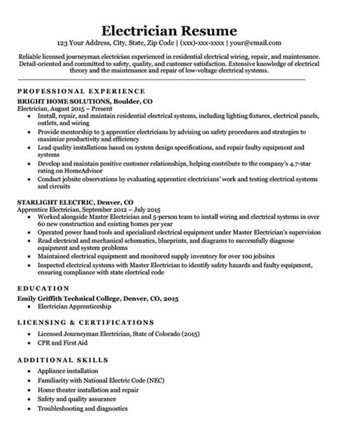 Electrician Resume Templates by Electrician Resume Sle Writing Tips Resume Companion