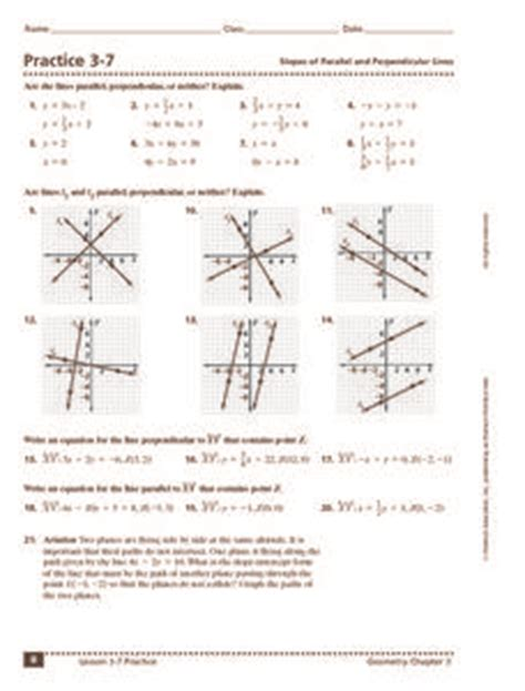 practice 3 7 slopes of parallel and perpendicular lines 10th 12th grade worksheet lesson planet