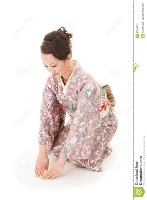 asian kimono woman bow royalty  stock photography