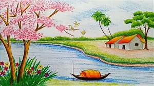 World Beautiful Drawing Nature Scenery How To Draw ...