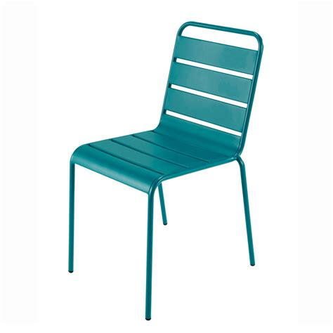 chaise aluminium exterieur metal garden chair in peacock blue batignoles maisons du