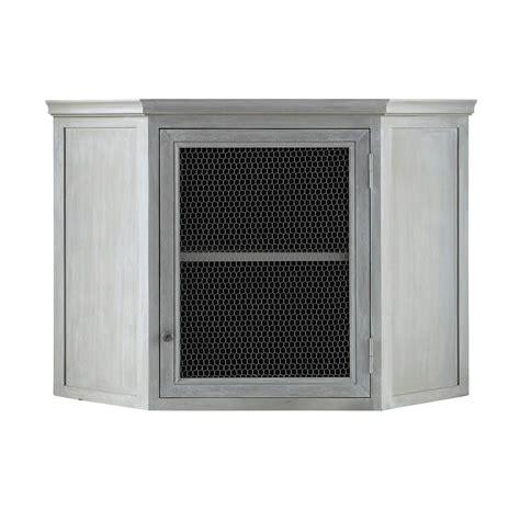meuble haut d 39 angle de cuisine en bois d 39 acacia gris l 76