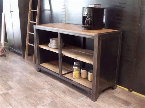 cuisine bois metal meuble de rangement cuisine bois métal sur mesure