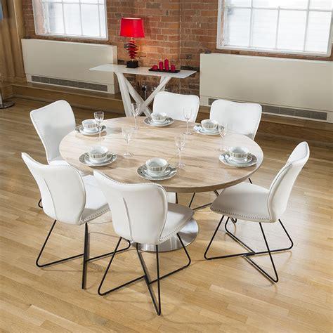 Modern Dining Set RoundOval Extending Table +6 High White