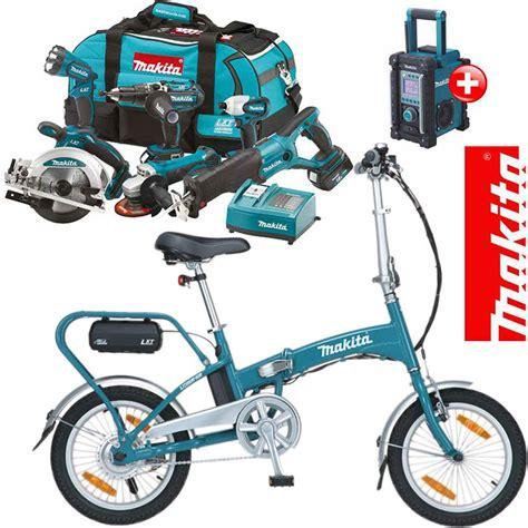 fahrrad werkzeug set makita profi akku werkzeug 18v set bmr102 bby180 z klapp