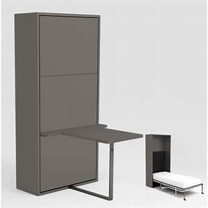 Armoire Lit Escamotable STONE 90x200 Gris Bureau Achat