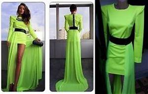 Womens Neon Green Black Maxi Dress Chiffon