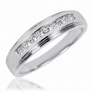 3 8 carat tw diamond his and hers wedding band set 10k With white gold wedding ring with diamonds