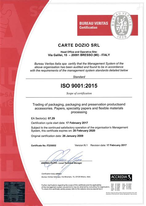 bureau veritas bv certifications cartedozio