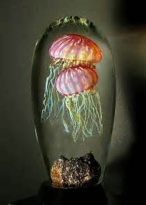 Gold Double Ruby Art Glass Jellyfish
