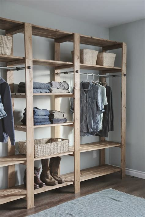 ana white industrial style wood slat closet system  galvanized pipes diy projects