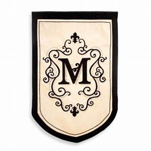 buy monogrammed letter quotbquot fleur estate outdoor flag from With monogram garden flags letter m