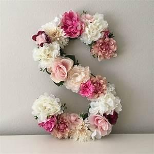 floral letter floral initial nursery letter flower With floral letter decor