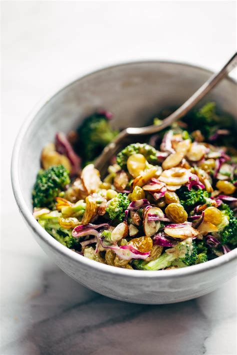 super clean broccoli salad with creamy almond dressing
