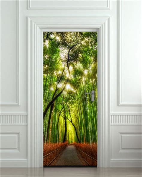 Door wall sticker cover bamboo forest green trees way by