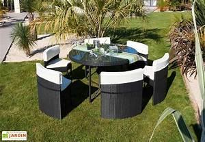 Resine Salon De Jardin : salon jardin rond r sine tress e encastrable 6 places noir ~ Dailycaller-alerts.com Idées de Décoration
