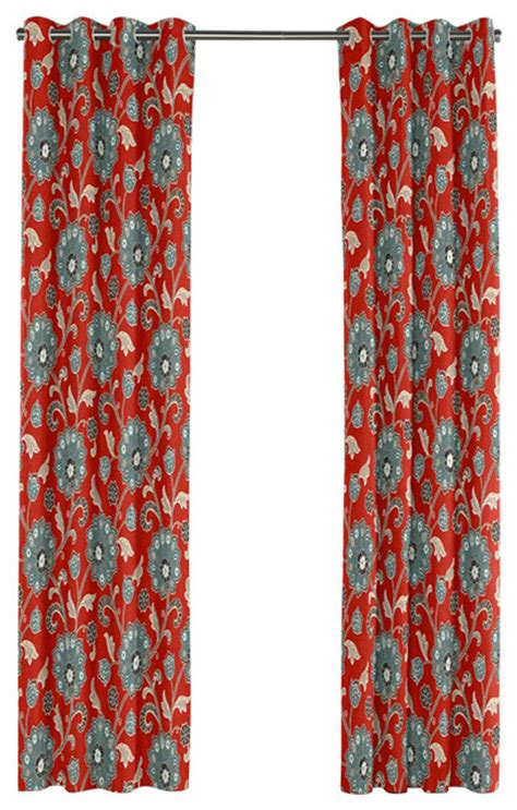 modern aqua  red floral grommet curtain contemporary